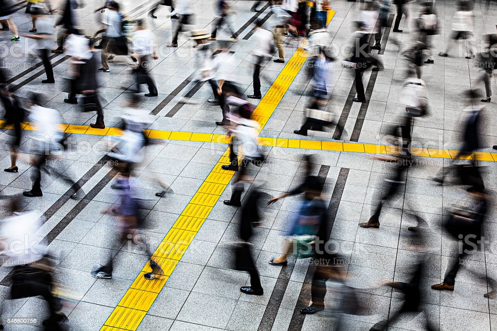 Commuters in a station at Tokyo stock photo