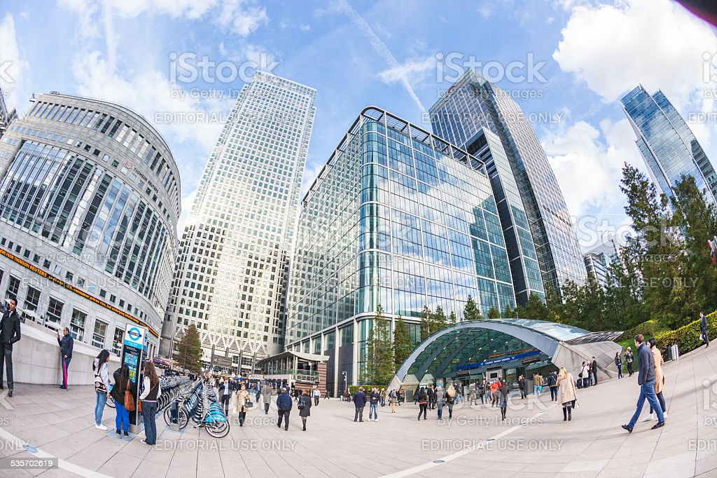 Commuters in Canary Wharf, Modern Financial District of the city. stock photo