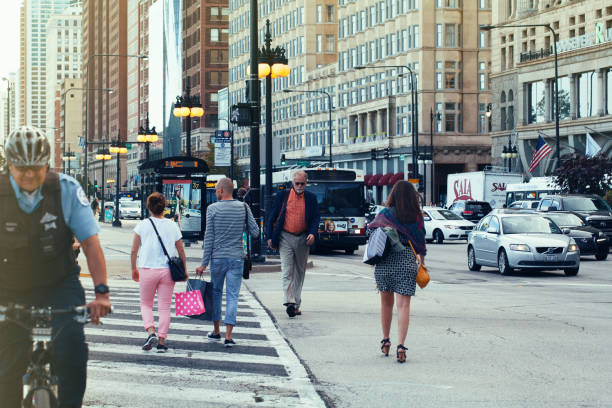 Commuters in downtown Chicago stock photo