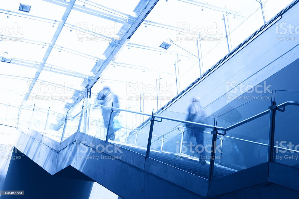 commuters in front of modern office lobby royalty-free stock photo