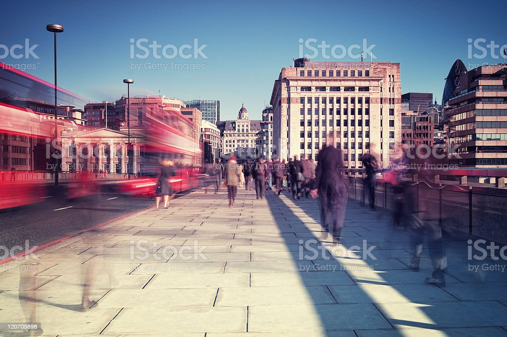 Commuters in London stock photo