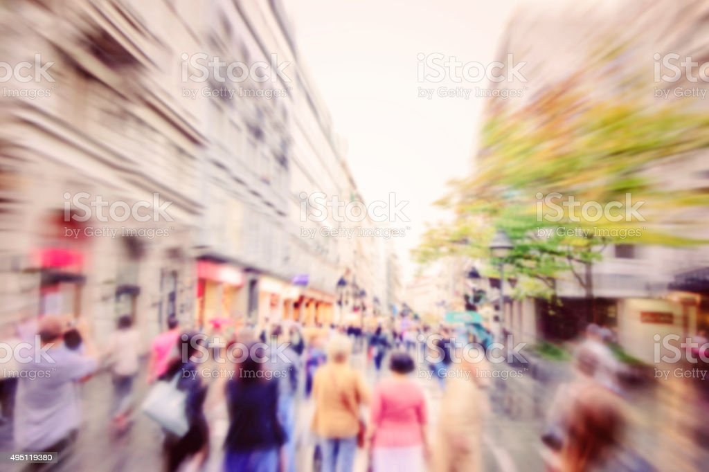 Commuters in motion blur stock photo