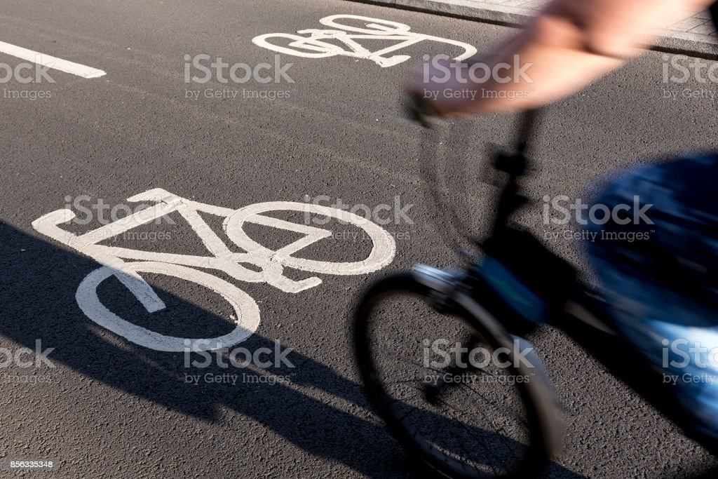 Commuters on bicycle paths stock photo