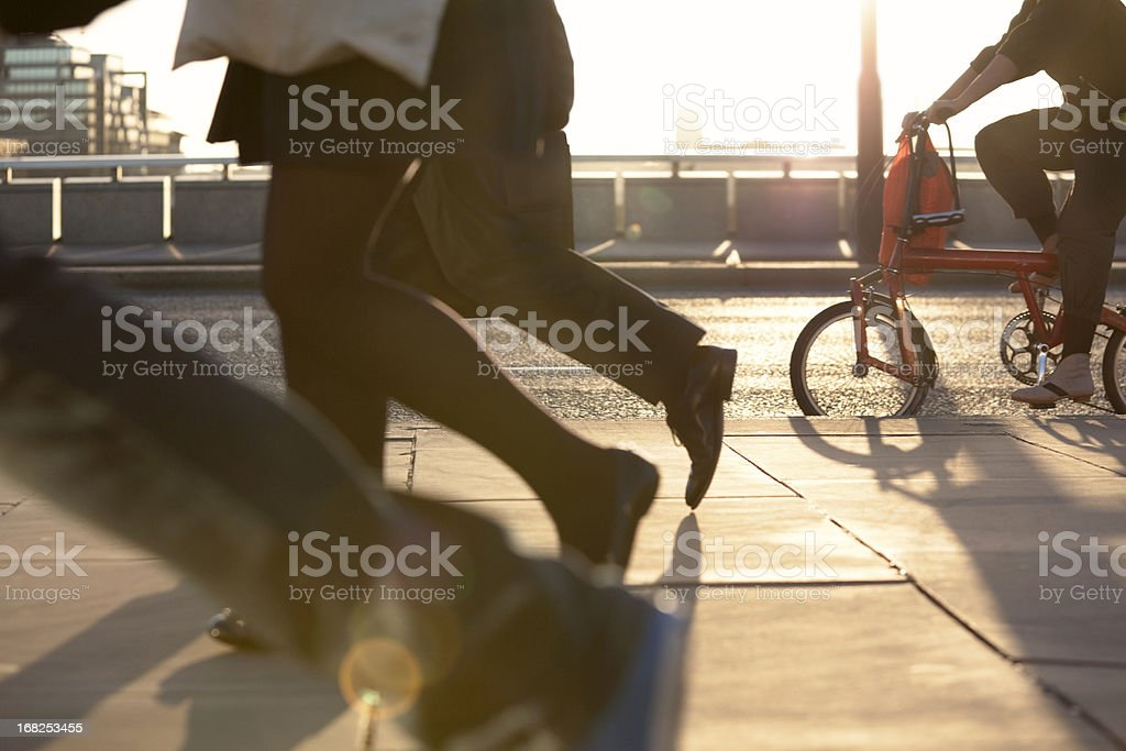 Commuters on foot and bicycle, Rush Hour (XXXL) royalty-free stock photo
