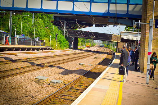 Commuters on Huntingdon train station