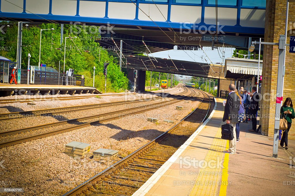 Commuters on Huntingdon train station stock photo