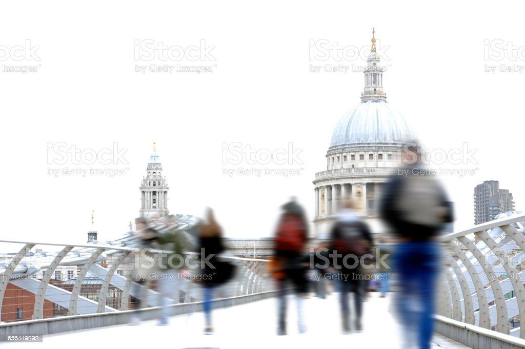 Commuters on Millenium Bridge stock photo