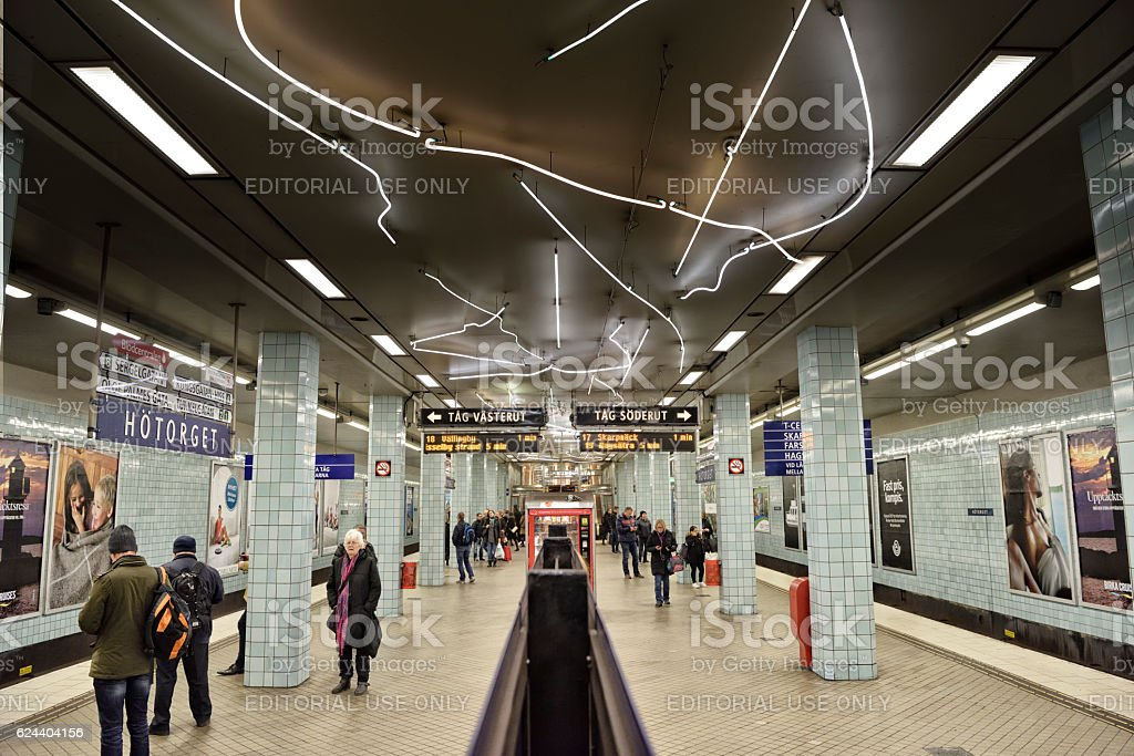 Commuters on underground station Hotorget stock photo