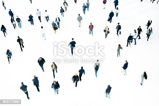 Overhead view of a crowd of commuters at rush hour