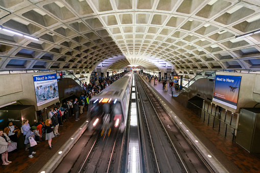 Commuters Waiting For Train At A Metro Station In Washington Dc Stock Photo - Download Image Now