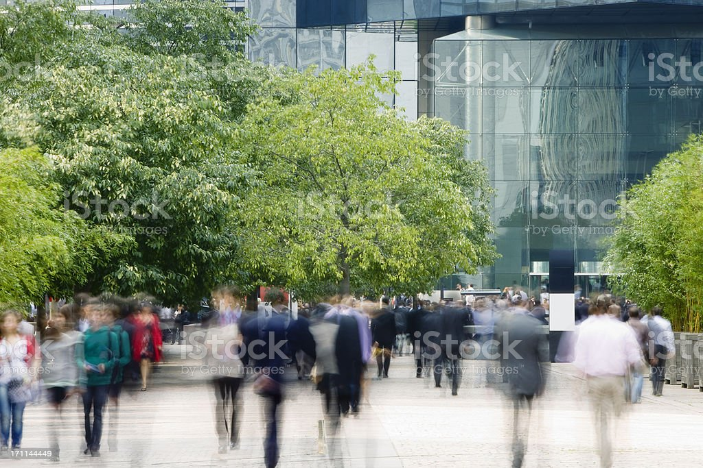 Commuters Walking in Financial District, Blurred motion royalty-free stock photo