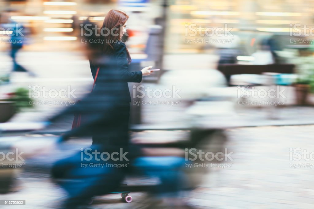 Commuting Businesswoman stock photo
