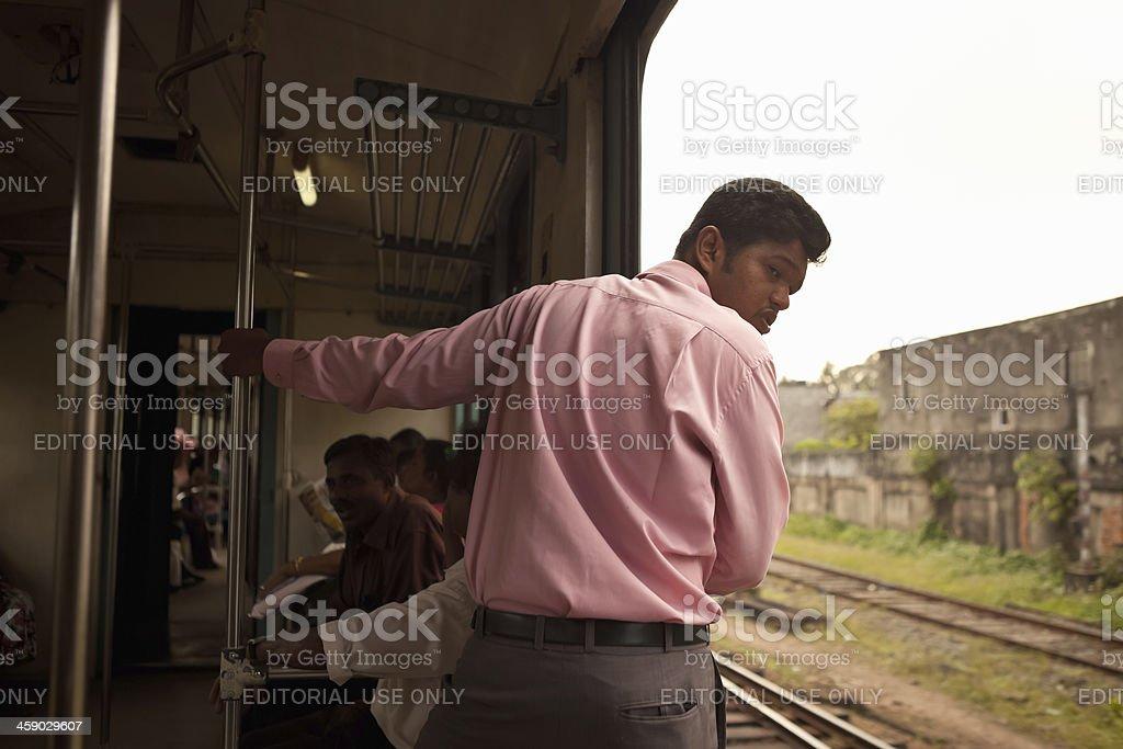 Commuting on the Train in Sri Lanka royalty-free stock photo