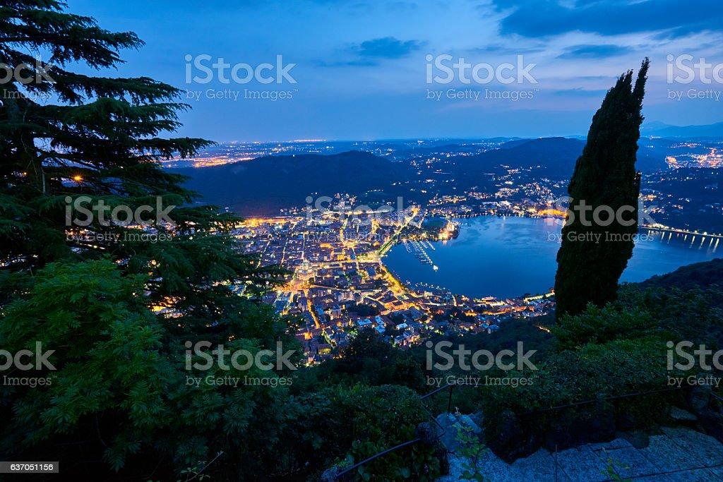 Como City and Como Lake at Sunset stock photo