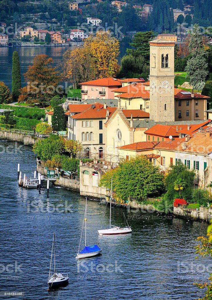 Como Lake coast by Bellagio, Milan, Italy stock photo