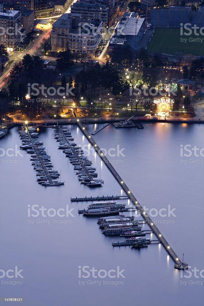 Como lake dock, Italy stock photo