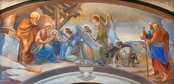 Como - The fresco of Nativity in church Chiesa di San Andrea Apostolo (Brunate) of by Mario Albertella.