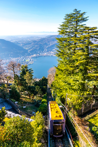 Como–Brunate funicular is a funicular railway that connects the city of Como with the village of Brunate in Lombardy, Italy. Operated since 1894. Como Lake on background