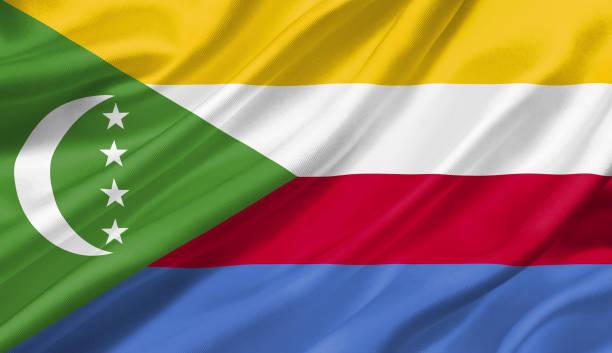 drapeau comores avec le vent, illustration 3d. - comores photos et images de collection