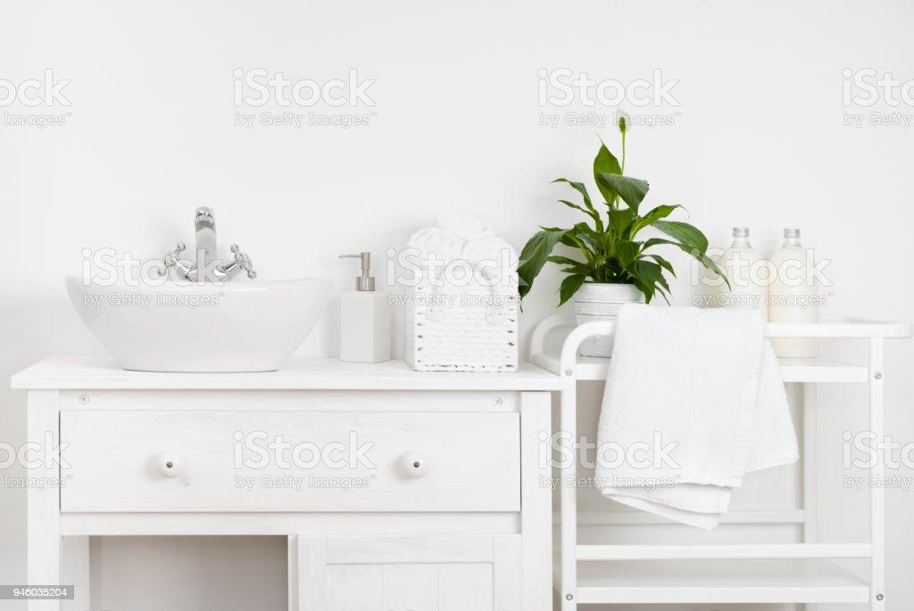 Kompaktes Badezimmer Interieur Mit Weißen Vintagemöbel Regal ...
