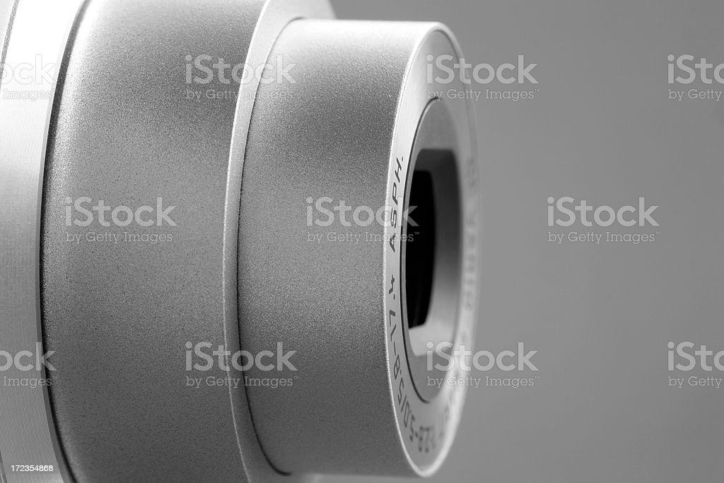 Compact camera detail b&w  (XL) royalty-free stock photo