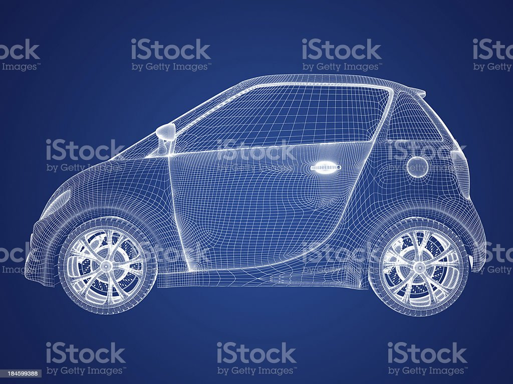 Compact car blueprint stock photo