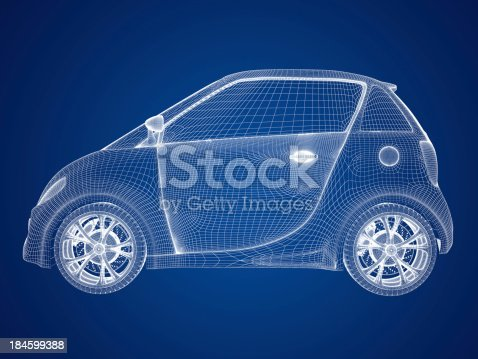 Compact car blueprint stock photo more pictures of blue istock malvernweather Images
