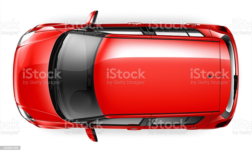 Compact car - top view stock photo
