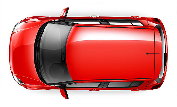 compact car - top view - on top of stock photos and pictures