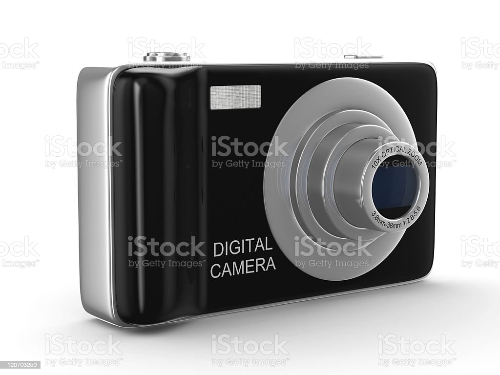 Compact digital camera on white. Isolated 3D image royalty-free stock photo