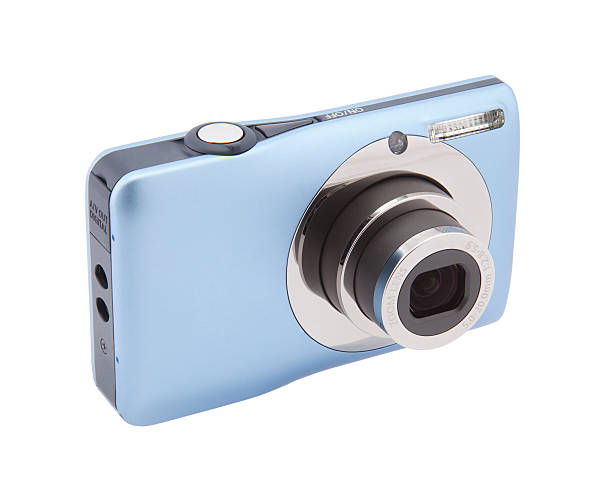 Compact digital photo camera with clipping path stock photo