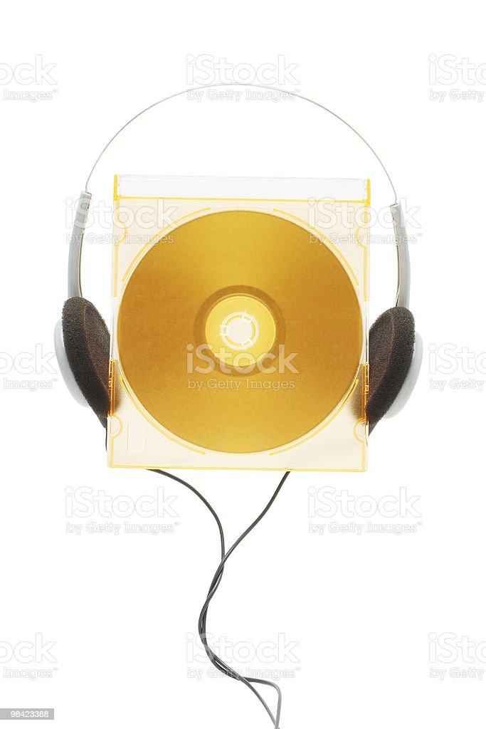 compact disc and headphone royalty-free stock photo
