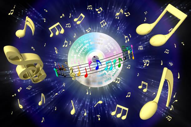 compact disc music universe background - 3d illustration - pięciolinia zdjęcia i obrazy z banku zdjęć
