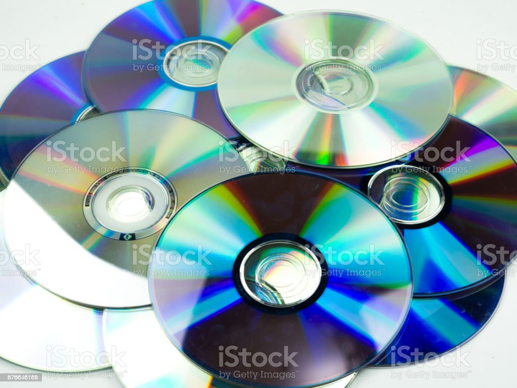 compact disc on white background stock photo