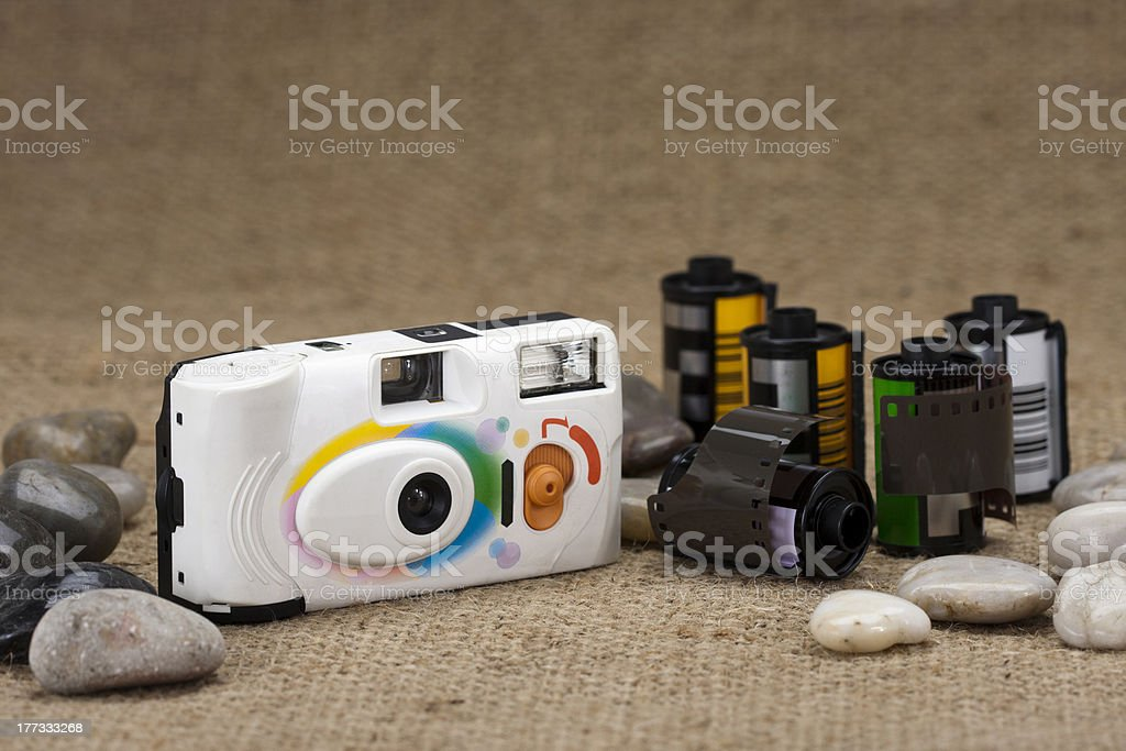 Compact film camera and cartridge royalty-free stock photo