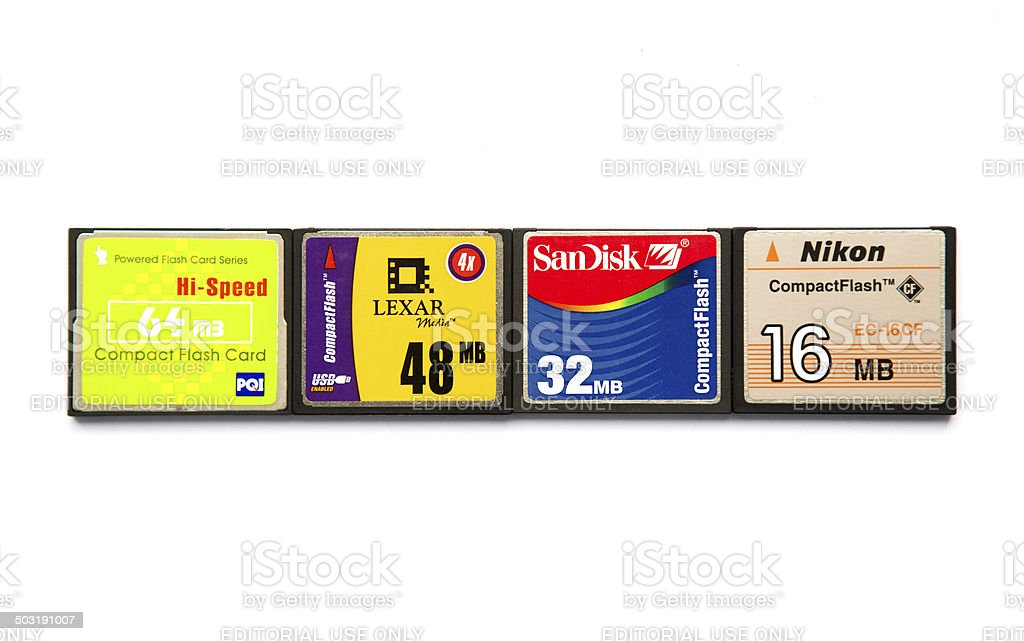 Compact flash memory cards stock photo