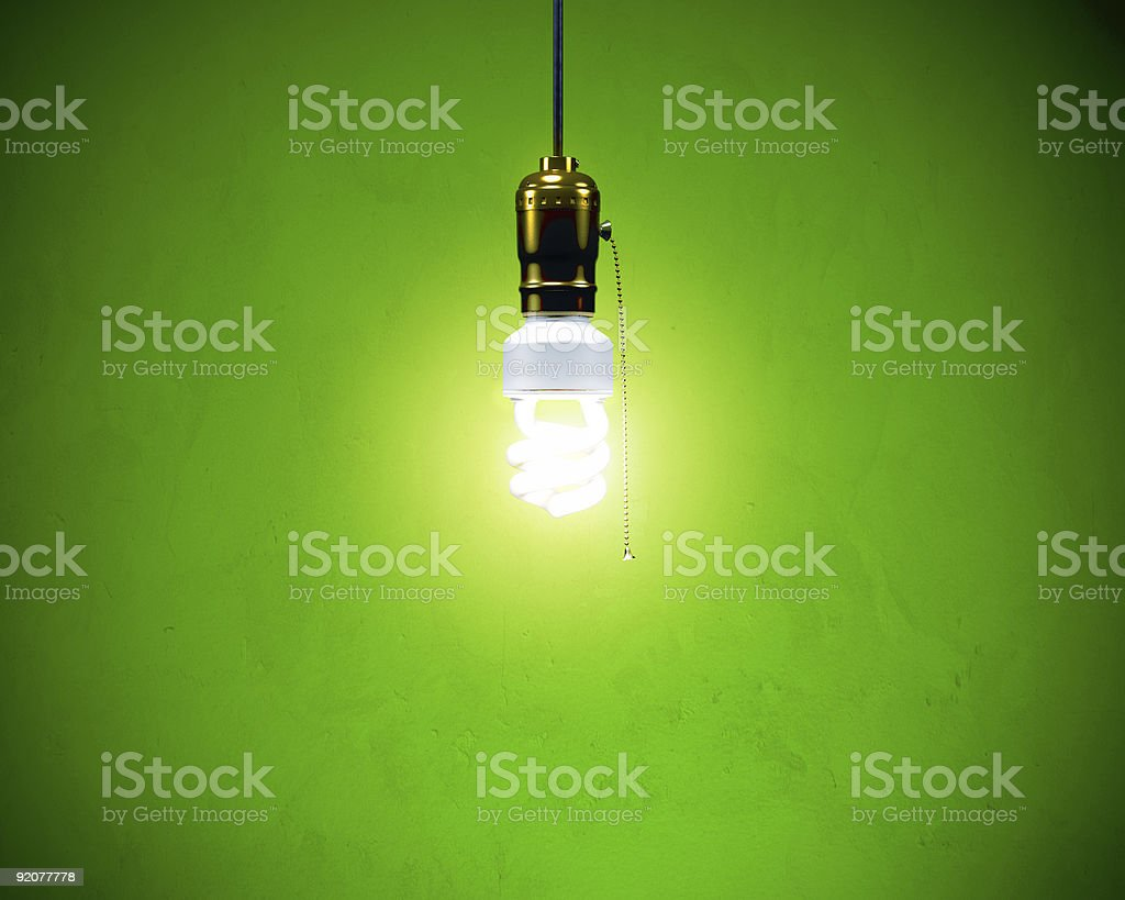 Compact Fluorescent Bulb - On Simple fixture stock photo