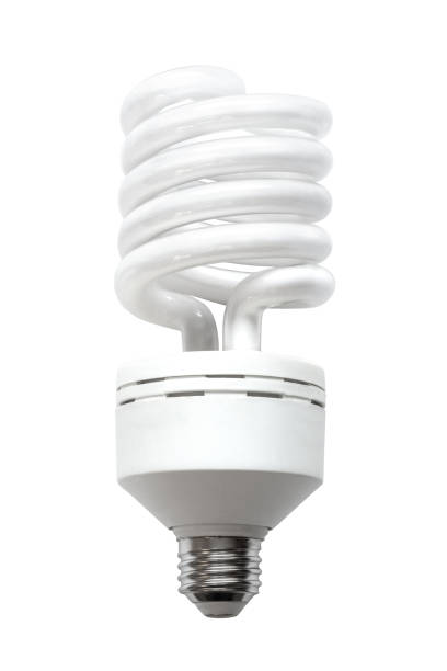 Compact Fluorescent Lamp CFL Energy Saving Light Bulb Isolated on White Background A compact fluorescent lamp (CFL), also called compact fluorescent light, energy-saving light bulb isolated on white background. canadian football league stock pictures, royalty-free photos & images
