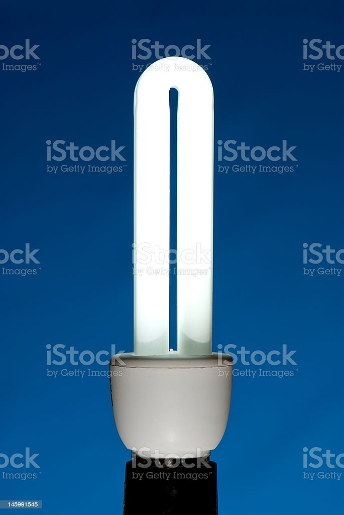 Compact fluorescent lightbulb (CFL) against a blue background royalty-free stock photo