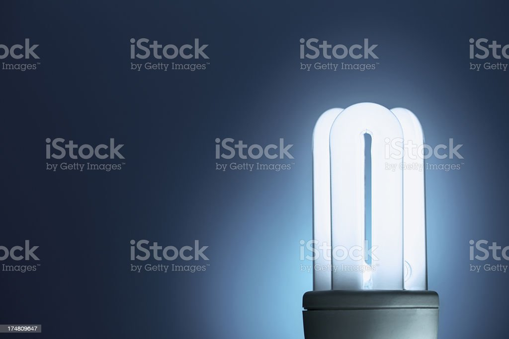 Compact fluorescent lightbulb with blue background royalty-free stock photo