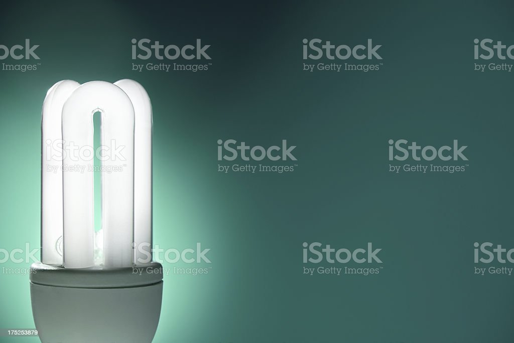 Compact fluorescent lightbulb with turquoise background royalty-free stock photo