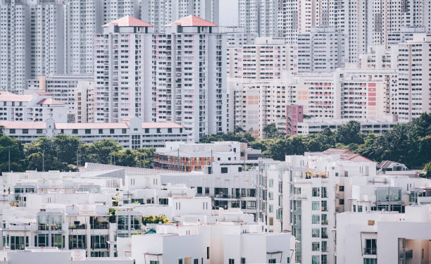 Compact living homes in Singapore stock photo