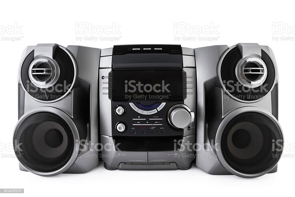 Compact stereo system cd and cassette player isolated with clipp stock photo