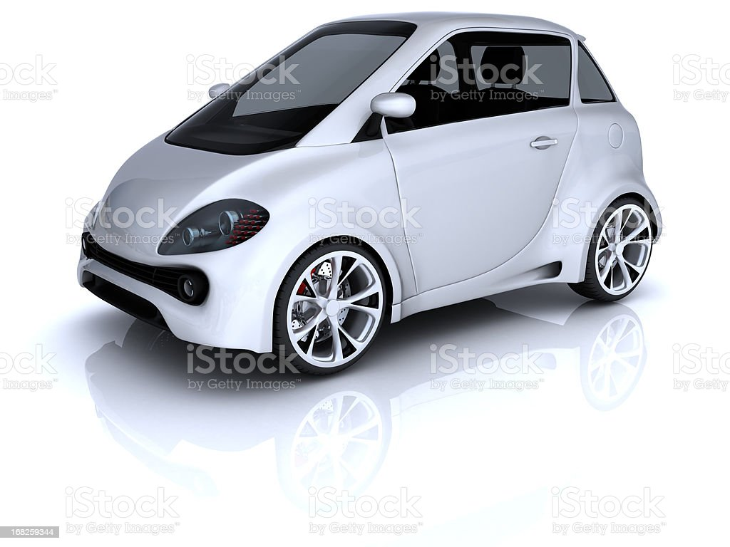 Compact two door white car on white background stock photo