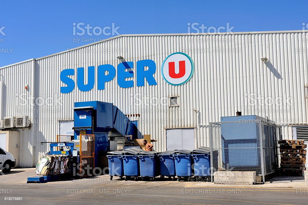 compaction of waste and packaging from a supermarket stock photo