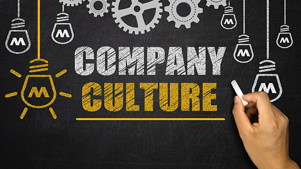 company culture concept on blackboard - cultures stock pictures, royalty-free photos & images