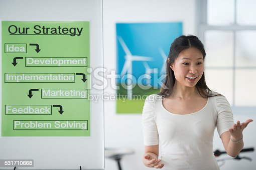 A businesswoman is giving a presentation to a start up company and they are discussing the companies strategy for developing new ideas.