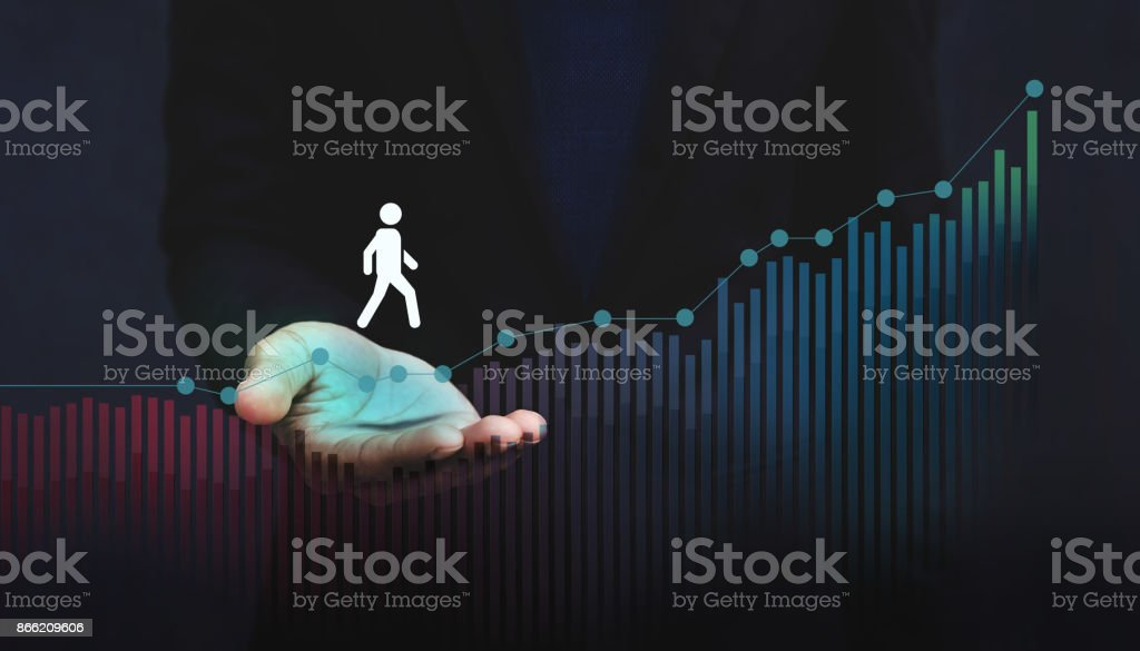 Company Helping and Supporting Customer to Success with Care Concept, Person Steps on Graph over a Careful Gesture Hand - foto stock