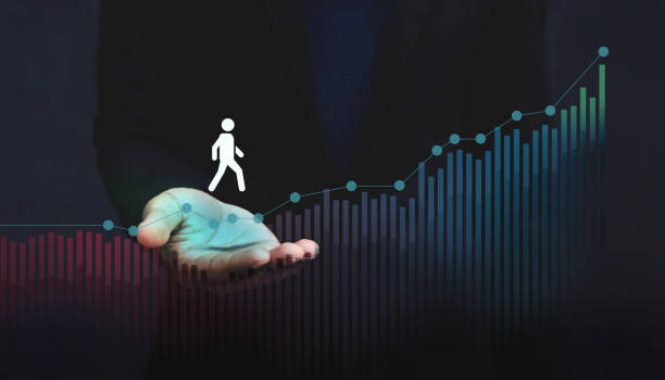 Company Helping and Supporting Customer to Success with Care Concept, Person Steps on Graph over a Careful Gesture Hand stock photo