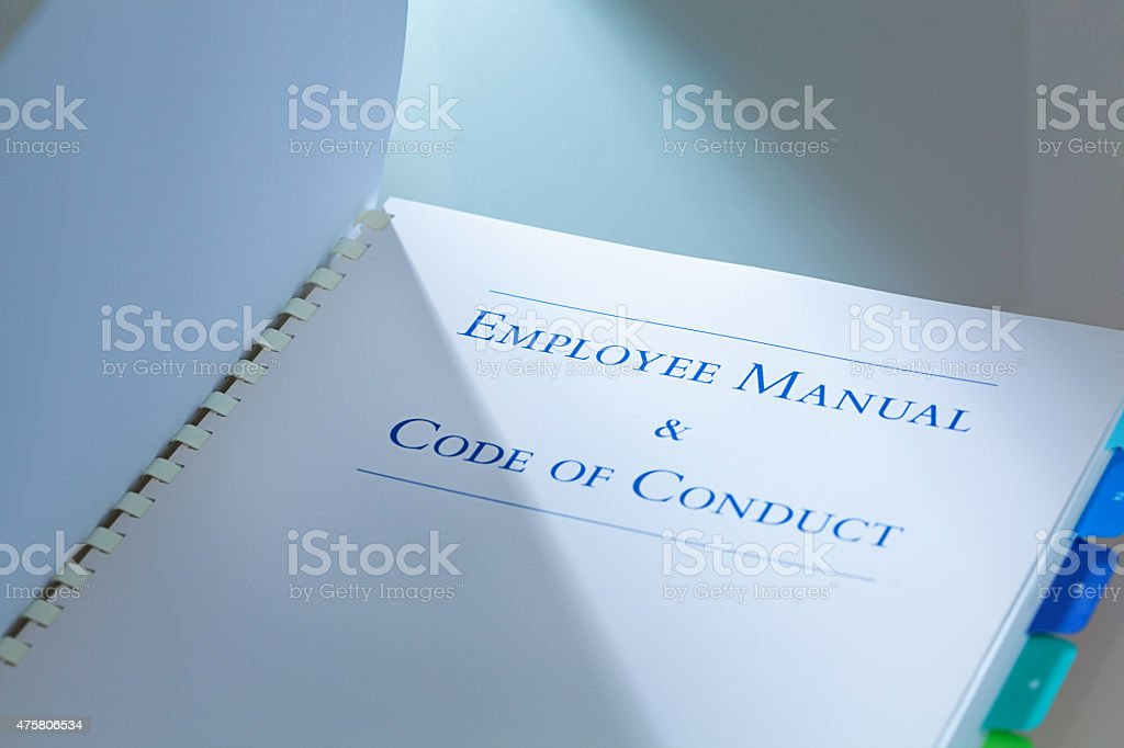 Company Human Resource Employee Manual and Code of Conduct stock photo